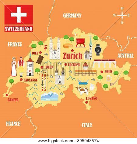 Church Fraumunster In Zurich, Switzerland. Landmark Icon In Flat Style. Swiss National Attractions.