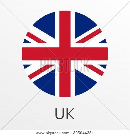 Flag Of Uk Round Icon Or Badge. United Kingdom And Great Britain Circle Button. British National Sym