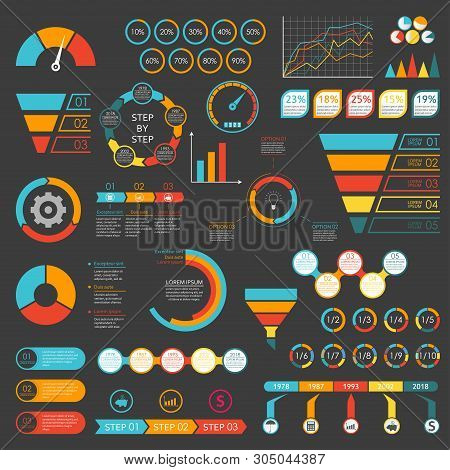 Infographics Set. Funnel, Chart, Graph, Arrows, Diagram, Gauge, Speedometer. Infographic With 3 And