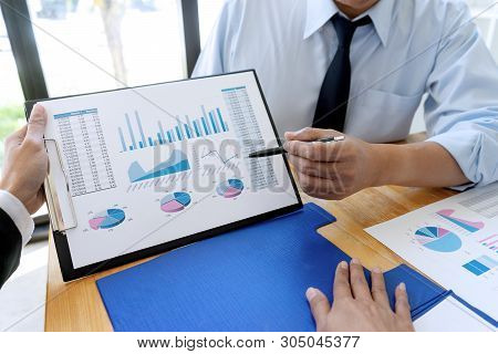 business businessman woman in meeting analyses chart graphy marketing plan in business project poster