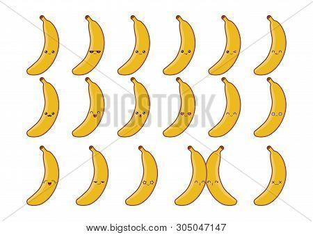 Banana Cute Kawaii Mascot. Set Kawaii Food Faces Expressions Smile Emoticons.