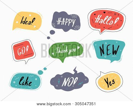 Set Of Color Speech Bubbles In Drawn Style.  Dialog Windows With Phrases: Idea, Happy, Hallo, Go, Th