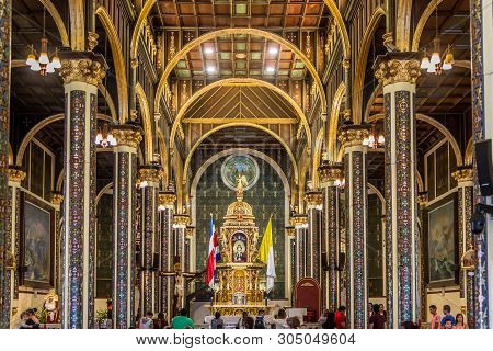 Cartago,costa Rica - March 23,2019 - View At The Interior Of Basilica Of Our Lady Of The Angels In C