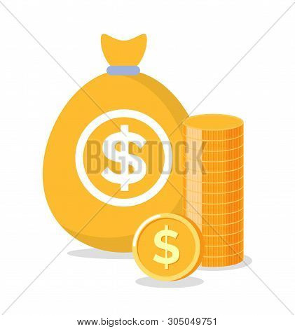 Bag With Coins, Golden Money, Bank And Investment Element, Moneybag With Dollars, Finance And Curren