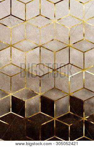 Abstract brown cubic patterned background