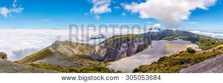 Panoramic View To The Crater Of Irazu Volcano From Mirrador At Irazu Volcano National Park, Costa Ri