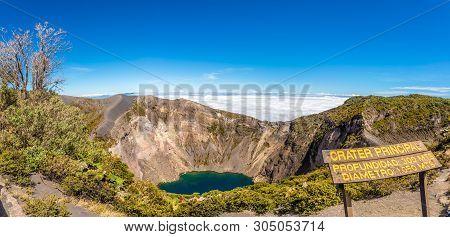 Panoramic View To The Crater Of Irazu Volcano (principal Lake)at Irazu Volcano National Park - Costa