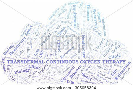 Transdermal Continuous Oxygen Therapy word cloud. Wordcloud made with text only. poster