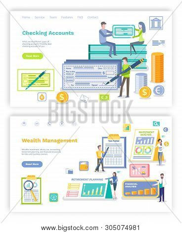 Checking Account Vector, People Signing Plans And Bills, Man With Big Pen And Check On Name. Retirem