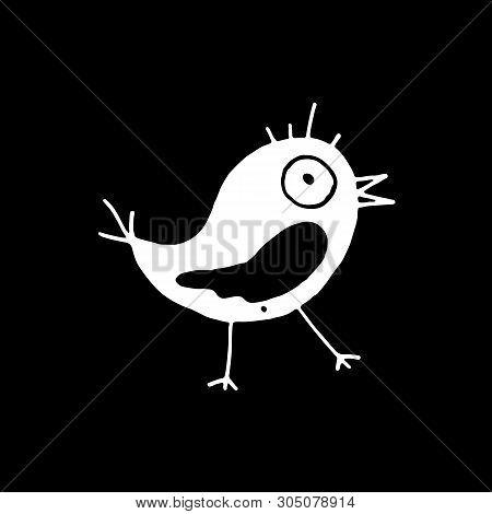Cute Cartoon Hand Drawn Summer Bird Silhouette Of Funny Bird. Sweet Vector Black And White Summer Bi