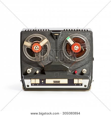 Vintage Portable Tape Recorder With Audio Reels. Single Object Isolated On White Background With Cli
