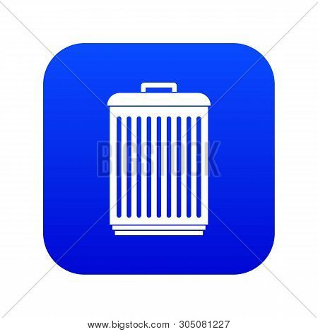 Trashcan Icon Digital Blue For Any Design Isolated On White Vector Illustration