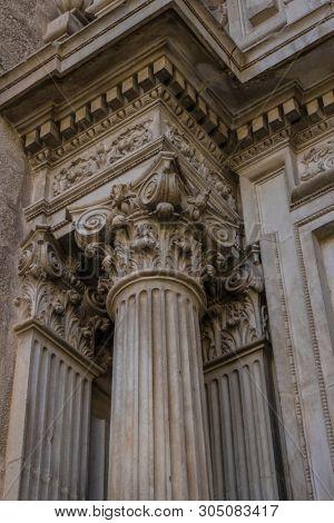 Corinthian columns. Assumption of the Virgin Cathedral (Santa Iglesia Catedral - Museo Catedralicio), Jaen, Andalucia, Spain