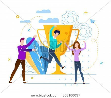 Victory With Prize Fund Vector Illustration. People Rejoice At Victory And Achievement Goal. Communi