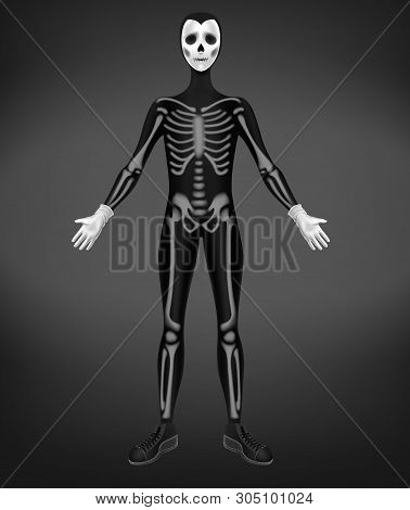 Skeleton Or Death Costume For Halloween Party Isolated On Black Background. Character In Skinny Suit