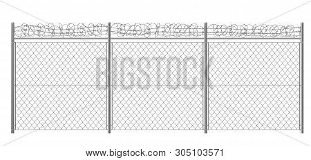 Chain-link, Rabitz Fence Fragment With Metallic Pillars And Barbed Or Razor Wire 3d Realistic Vector