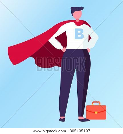 Person Wearing Formal Suit Vector, Superhero In Field Of Business Flat Style. Isolated Male With Bri