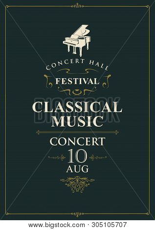 Vector Poster For Concert Or Festival Of Classical Music With Grand Piano On The Black Background In