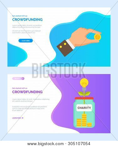 Crowdfunding, Vector Money Tree Growing From Glass Jar, Dollar Of Usa, Stable Currency In Businessma