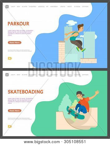 Young Teenagers With Hobbies Vector, Skateboarder With Skate Making Tricks In Air. Parkour Jumping G