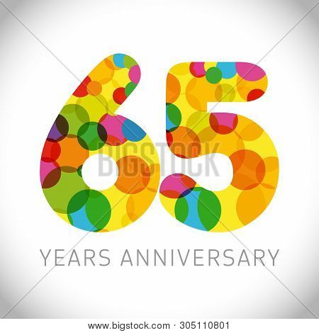 65 Th Anniversary Numbers. 65 Years Old Multicolored Logotype. Congrats Age Greetings, Congratulatio