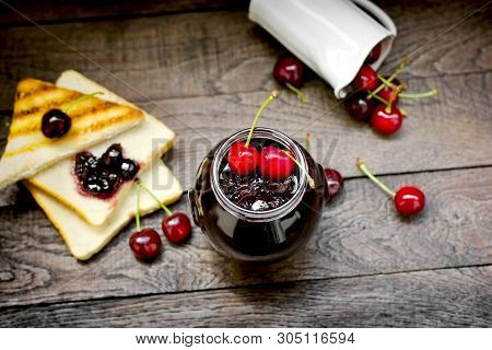 Cherry Marmalade Jam Made With Fresh Organic Cherries, Cherry Jam - Marmalade In Jar