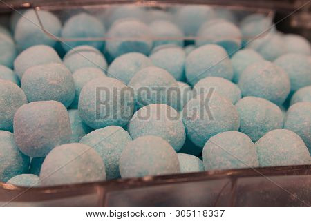Colourful Delicious Candy Confectionary Balls Background Closeup