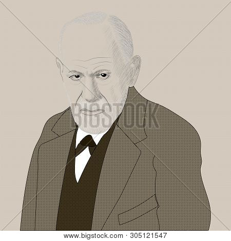 Portrait Of Sigmund Freud. The Founder Of Psychoanalysis. Hand Drawn Illustration. Vector.