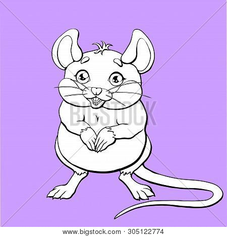 The Cute Mouse Contour On Lilac Background
