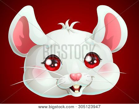 Cute White Mouse Head On Dark Red