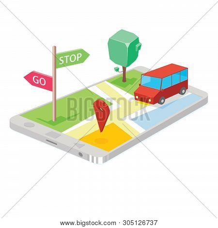 Illustration Of Map Gps Technology On Smartphone