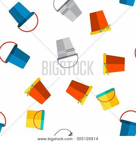 Buckets, Pails Vector Thin Line Icons Seamless Pattern. Buckets, Plastic, Metal Containers For Farmi