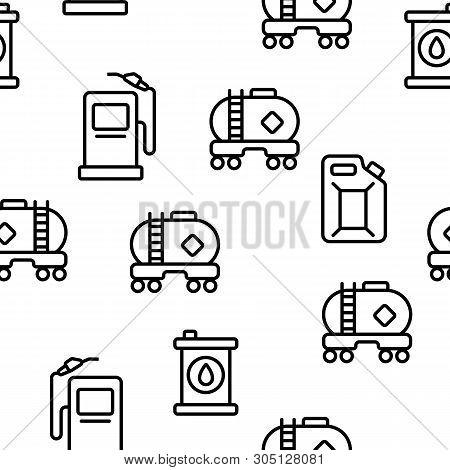 Gas, Petrol Tank Linear Vector Icons Seamless Pattern. Car Refueling Thin Line Contour Symbols. Gaso