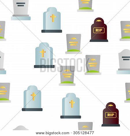 Headstone, Gravestone, Tombstone Vector Color Icons Seamless Pattern. Headstone, Granite Grave, Cros