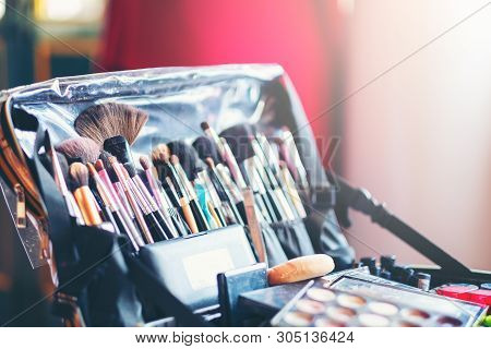Case Makeup Artist. A Set Of Brushes, Powder, Foundation. Tools Make-up Artist In A Box, Professiona