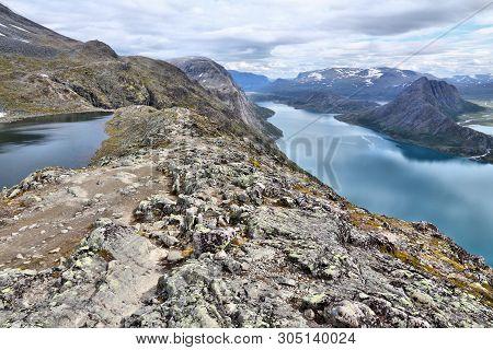 Norway Nature - Jotunheimen National Park. Besseggen Ridge Trail Between Two Lakes (gjende And Bessv