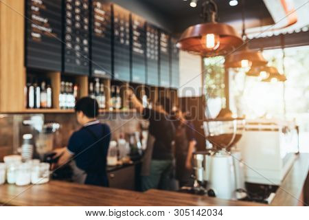 Blurred Background Made With Vintage Tones,coffee Shop Blur Background With Coffee Shop Bar Counter