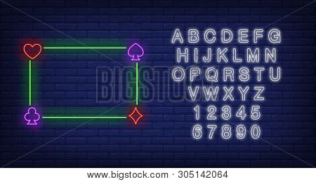 Green Glowing Frame Neon Sign. Gambling And Poker Club Design. Vector Illustration In Neon Style For