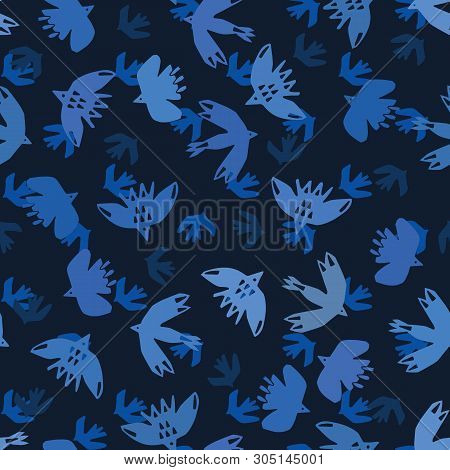 Indigo Blue Abstract Birds Flying Cut Out Shapes. Vector Pattern Seamless Background. Hand Drawn Mat