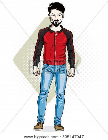 Handsome Brunet Young Man Standing. Vector Illustration Of Man With Beard And Whiskers Wearing Styli