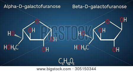 Galactose, Alpha-d- Galactofuranose, Beta-d- Galactofuranose, Milk Sugar Molecule. Cyclic Form. Stru