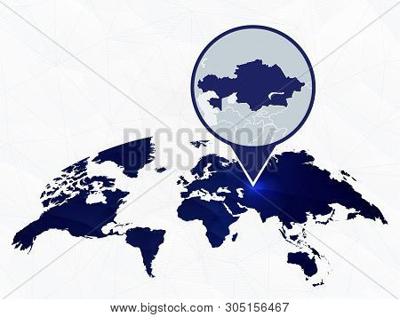 Kazakhstan Detailed Map Highlighted On Blue Rounded World Map. Map Of Kazakhstan In Circle.