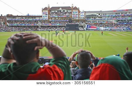 LONDON, ENGLAND. 05 JUNE 2019: A general view as Bangladesh fans react to  the wicket of Tamim Iqbal during the Bangladesh v New Zealand, ICC Cricket World Cup match, at the Kia Oval, London, England.