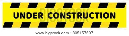 Under Construction Board.under Construction Board On Black Line And Yellow Line Background Drawing B