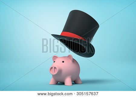 3d Rendering Of Cute Pink Piggy Bank And Black Tophat Floating In Air Above Piggy On Light Blue Back