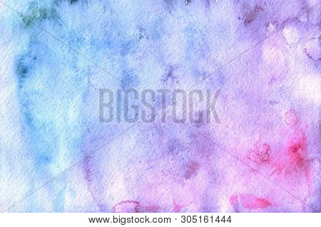 Abstract Watercolor Background. Beautiful Combination Of Pink And Blue Colors.