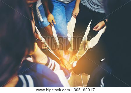 Dramatic Moment,split Tone Process,with Hot Light, People Foots Assemble Corporate Meeting Teamwork