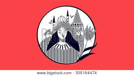 Istanbul City Promotion Vector Poster Or Banner Template With Galata Tower, Turkish Tulip, Copy Spac