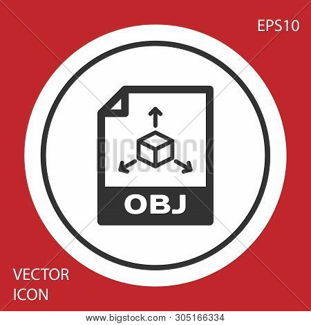 Grey Obj File Document Icon. Download Obj Button Icon Isolated On Red Background. Obj File Symbol. W