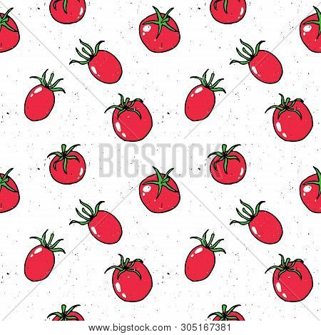 Tomato, Cherry Tomato Hand Drawn Pattern Vector Illustration. Tomato Hand Drawn Sketch Seamless Patt